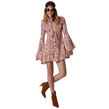 Bell Sleeve Swing Printed Dress