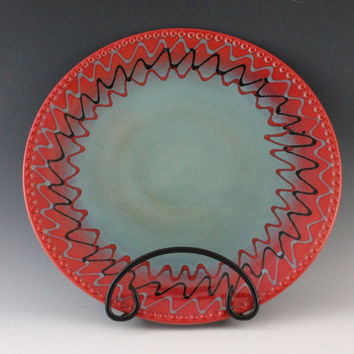 Fiesta Platter for Cinco de Mayo red and blue by NewDayPottery
