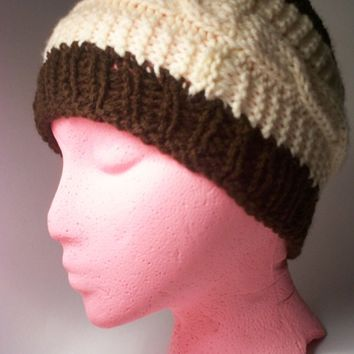 Knit Beanie, Hand Knit Braided  Beanie Chocolate Brown and beige Ready to ship
