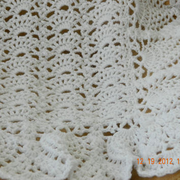Beautiful white hand crocheted soft baby afghan, fan and pineapple design/CHRISTENING/Baby Nursery/Baby Shower/FREE SHIPPING