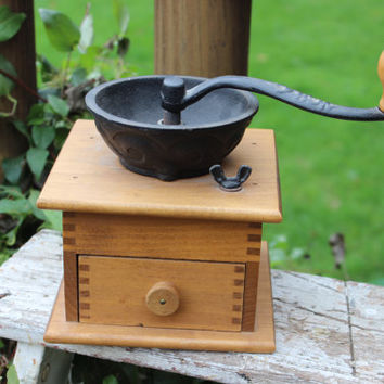 Antique wooden coffee grinder with cast iron crank, vintage Wrightsville Hardware Company, vintage french kitchen decor, wooden coffee mill