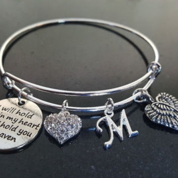 I'll Hold You In My Heart Until I Hold You In Heaven Charm Bangle, Stainless Steel, Remembrance, Memorial, Sympathy Personalized