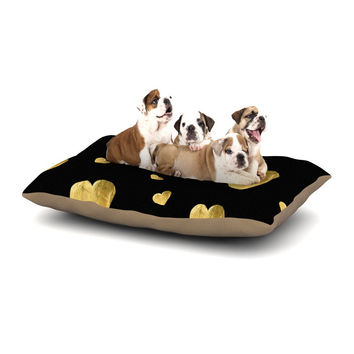 "Robin Dickinson ""Floating Hearts"" Gold Black Dog Bed"
