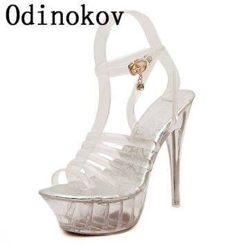 Sexy Peep Toe Valentine Shoes  Woman High Heel 14cm High  Women High Heels Women Wedge Shoes Pumps Rhinestone Shoes