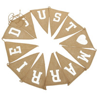 New Wedding Deocr Hanging Mr & Mrs Vintage Banner Jute Burlap Bunting Just Married Rustic Garland Party Decoration Photo Props