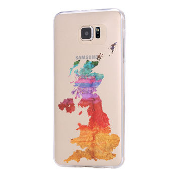 UK Watercolor Map Galaxy s6 Case Galaxy S6 Edge Case Galaxy S5 Clear Hard case C123