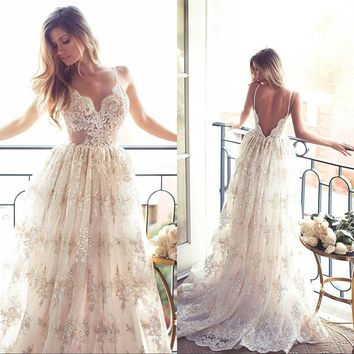 Robe de Mariage Sexy Open Back Bohemian Lace Vintage Boho Beach Wedding Dress 2017 Romantic Wedding Bridal Gowns