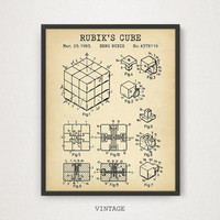 Rubik's Cube Patent Print, Digital Download, Rubiks Cube Poster, Printable Art, Puzzle Game, Vintage Blueprint Artwork, Game Room Decor