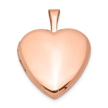 925 Sterling Silver Rose Gold-plated Satin and Polished 2-Frame Heart Locket