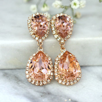 Rose Gold Blush Earrings, Bridal Blush Earrings, Bridal Drop Earrings, Blush Statement earrings, Swarovski Blush Chandelier Earrings.
