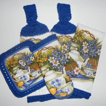 Kitchen Set, Crochet Trim, Hanging Towels, Pot Holder, Oven Mitt, Blue and White