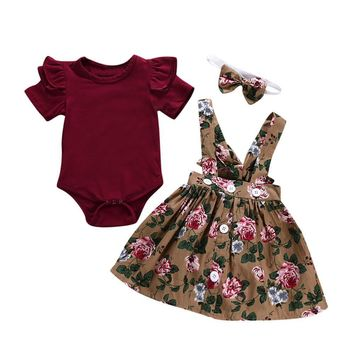 Overalls Skirt +Headband+Romper Clothes Floral Print Cute Little Girl Clothes