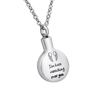 "Engraved""I'm here watching over you""Memorial Urn Pendant Necklace Stainless Steel Ashes Keepsake Cremation Jewelry"