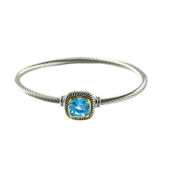 Chartra Aqua Crystal Silver Cable Bangle Bracelet