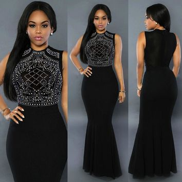 Sexy Women Long Fitted Beading Sleeveless Summer Mermaid Evening Gown Fishtail Dress Black Blue Wine Red