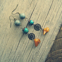 Beaded Long Dangle Earrings, Turquoise Amber Brass Drop Earrings, Orange Blue Boho Spring Summer Jewelry, Casual colorful Bohemian Fashion