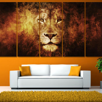 Extra Large Lion Photo Canvas Print - Wildlife Animal Dark Background Framed Wall Art -  Hand Made in Europe for Home and Office_LC043