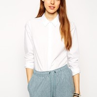 ASOS Long Sleeve Shirt with Grosgrain detail collar and cuff at asos.com