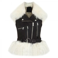Shearling and suede gilet