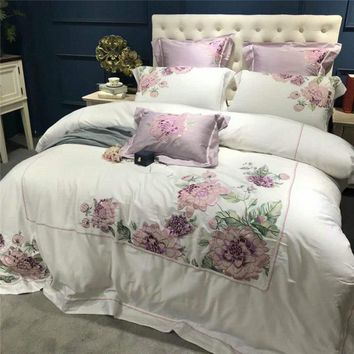 Cool Purple floral embroidery decoration Bed set egyptian cotton white luxury Bedding Set queen king size bed sheet duvet cover setsAT_93_12