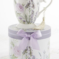 Gift Boxed Porcelain Mug with Tassle - Lavender