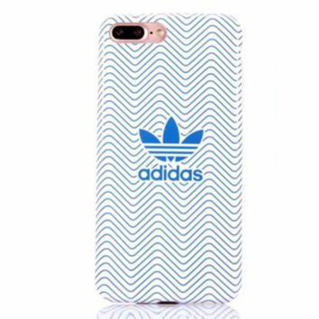 Adidas Fashion new ripple print women and men protective case phone case White