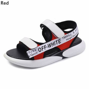 OFF-WHITE Tide brand women's Velcro webbing shoes thick-soled toe sandals red