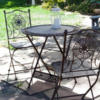 3 Piece Folding Outdoor Patio Furniture Bistro Set in Antiqued Iron