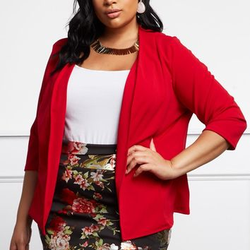 Let Me Be Plus Size Open-Front Cardigan Tops+ GS-LOVE