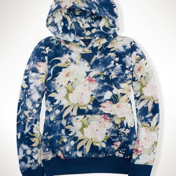 FLORAL COTTON TERRY HOODIE