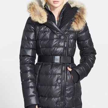 Women's Rud by Rudsak 'Joannie' Belted Puffer Coat with Genuine Coyote Fur Trimmed Hood