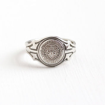 Vintage Sterling Silver Salisbury High School Class Ring - Size 9 SHS Education Dated 1907 Geometric Shoulders Signet Seal Jewelry