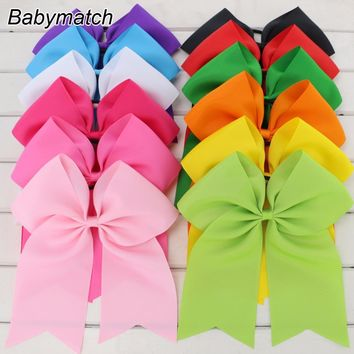 Babymatch 7.5'' Large Ribbon Cheer Bows Boutique Girls Cheerleading Ponytail Holder Elastic Hair Bows Tie For Teens Kids