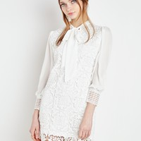 White Lace Neck Tie Dress