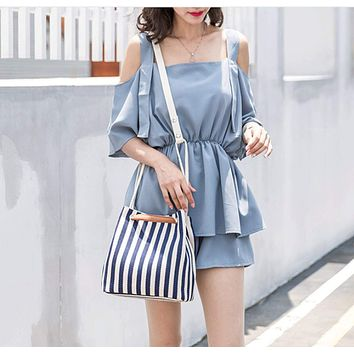 Womens Striped Canvas Tote Bag