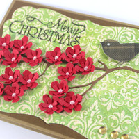 Christmas Bird Card - Red Flowers - Merry Christmas