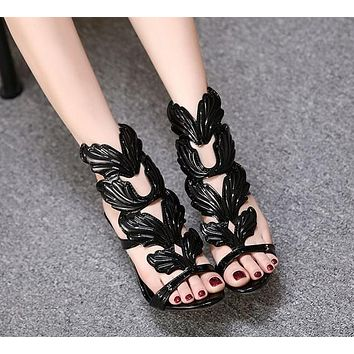 Summer new metal wing stiletto super high heel toe sandals