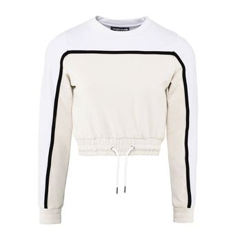 Colour Block Cropped Jumper - Beige