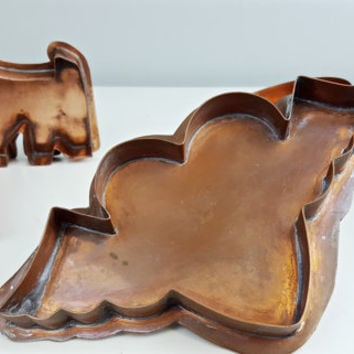 Vintage Copper Cookie Cutter Heart with Wings, Cupid Heart Cookie Cutter, Copper Kitchen Tool, Copper Bakeware, Farmhouse Kitchen Decor