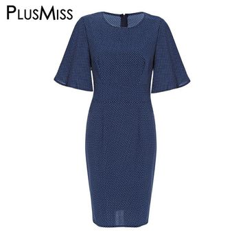 Plus Size 6xl 5xl 4xl Bell Sleeve Polka Dot Pencil Dress Women Clothes Office Work Midi Dress Ladies Summer 2017 Big Size
