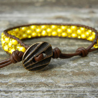 Beaded Leather Single Wrap Stackable Friendship Bracelet on Brown Leather You Pick Color Purple Blue Green Yellow or Pink