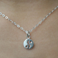 """925 Yin Yang Necklace with 18"""" chain - Tiny Pendant Necklace - Yin Yang Necklace - Minimalist Jewelry - yin yang jewelry - Bridesmaid Gift"""