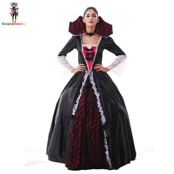 Deluxe Victorian Vampire Costume For Adult Women Gothic Black Ghost Bride Dresses Party Female Blood Countess Disguise Costumes