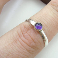 Sterling Silver Amethyst Ring Handmade Metalwork Jewelry Size 8 February Birthstone Ring Size 8 Ready to Ship Dainty Birthstone Ring