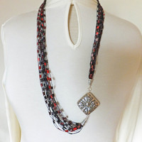 "Unique Red Black Trellis Ribbon Ladder Yarn  Necklace 32"" long"