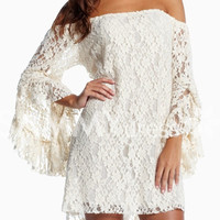 White Slash Neck Floral Lace Dress