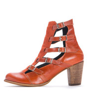 SALE. Boots. Unique boots, Orange 7 cm heel boots. 5 straps with a tiny buckle from each side. Sexy, chic shoes.