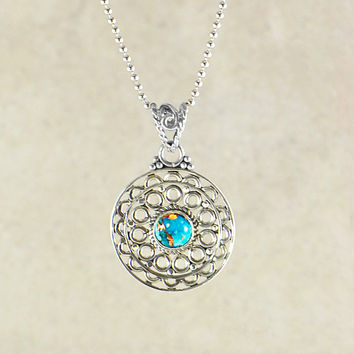 Mandala Pendant Necklace in Sterling Silver