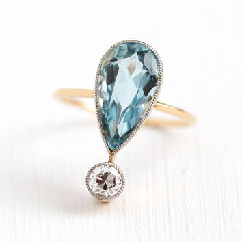 Aquamarine & Diamond Ring - Antique 14k Yellow Gold Genuine Pear Blue Gemstone - Size 6 1/2 Early 1900s Edwardian Fine Appraisal Jewelry