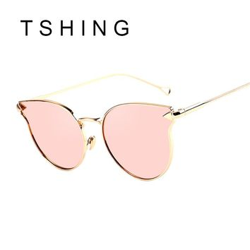 TSHING New Ladies Cat Eye Flat Sunglasses Women Fashion Vintage Metal Frame Mirror Sun Glasses Unique For Female Sunglass UV400
